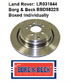 LR031844 Borg & Beck Brake Disc (Single) BBD5822S